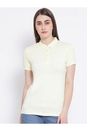 Crimsoune Club Women Cream-Coloured Solid Polo Collar T-shirt