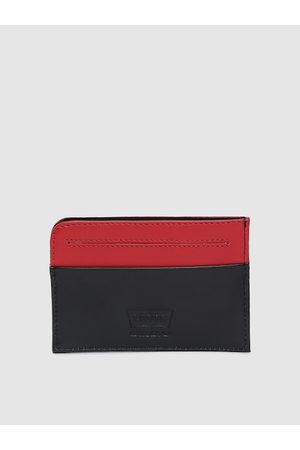 Levi's Men Black & Red Leather Colourblocked Card Holder