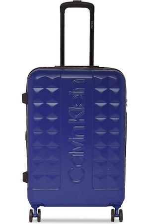 Calvin Klein Unisex Blue Solid Central Park West Hard Sided Cabin Trolley Suitcase