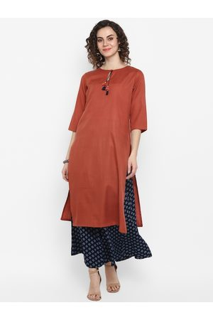 Janasya Women Rust Red & Blue Solid Kurta with Palazzos