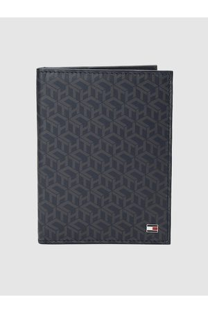 Tommy Hilfiger Men Blue Printed Genuine Leather Passport Holder