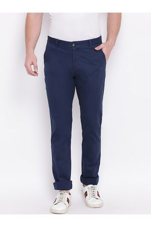 HARSAM Men Navy Blue Slim Fit Solid Regular Trousers