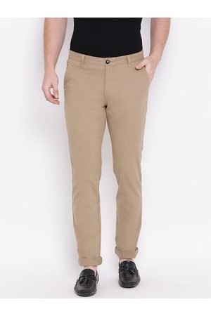 HARSAM Men Beige Slim Fit Solid Regular Trousers