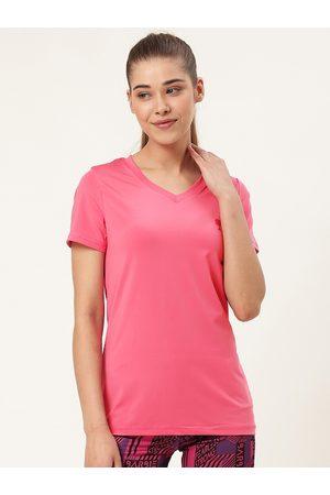 Barbie Women Pink Solid V-Neck T-shirt