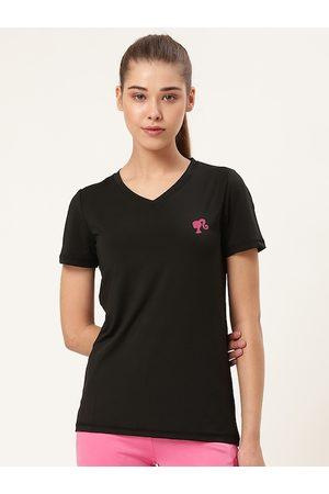 Barbie Women Black Solid V-Neck T-shirt