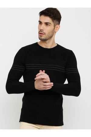 Rex Straut Men Black Striped Sweatshirt