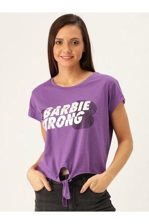 Barbie Women Purple & White Printed Top