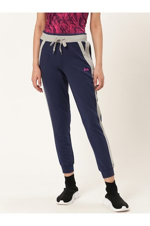 Barbie Women Navy Blue & Grey Melange Solid Cropped Joggers