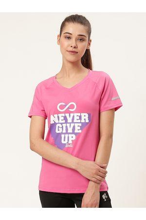 Barbie Women Pink Printed V-Neck T-shirt