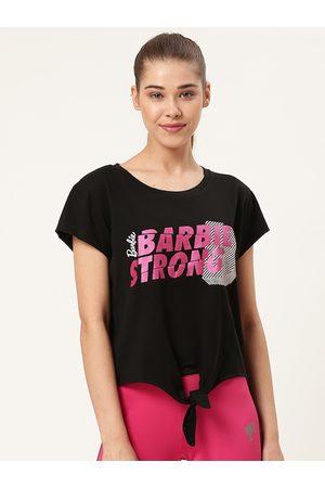 Barbie Women Black & Pink Printed Top