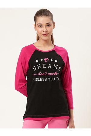 Barbie Women Black & Pink Printed Round Neck T-shirt