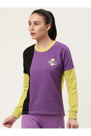 Barbie Women Purple & Black Colourblocked Sweatshirt