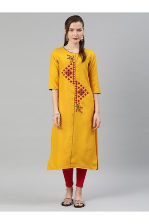 ALENA Women Yellow Embroidered Straight Kurta