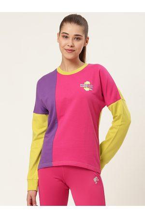 Barbie Women Pink & Purple Colourblocked Sweatshirt
