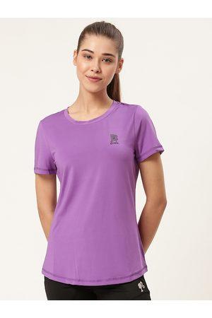 Barbie Women Lavender Solid Round Neck T-Shirt