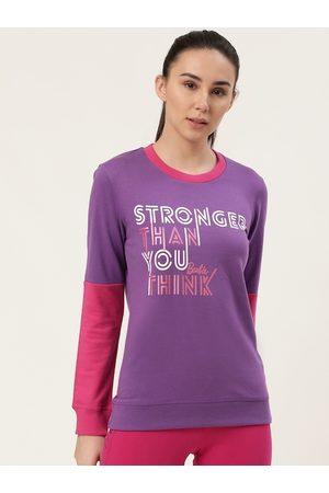 Barbie Women Purple & White Printed Sweatshirt