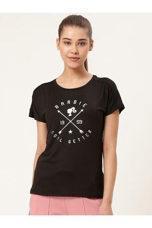 Barbie Women Black Printed Round Neck T-shirt