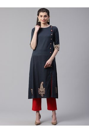Yash Gallery Women Charcoal Grey Embroidered Patch Solid A-Line Kurta