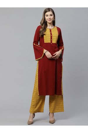 Yash Gallery Women Maroon & Mustard Yellow Yoke Design Kurta with Palazzos