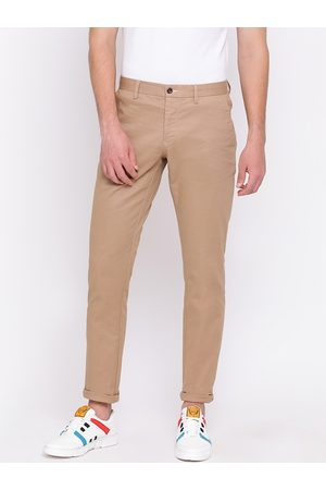 GANT Men Khaki Slim Fit Solid Regular Trousers