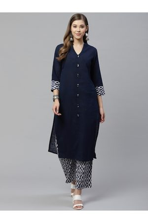 Yash Gallery Women Navy Blue & White Solid Kurta with Printed Palazzos
