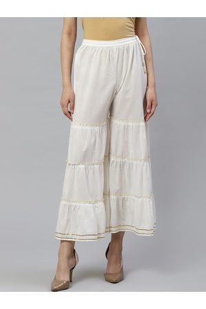 Yash Gallery Women Off-White Solid Flared Sharara