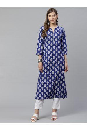 Yash Gallery Women Blue & White Buta Print Kurta with Trousers