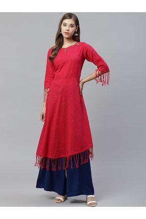 Yash Gallery Women Pink Solid Fringed A-Line Kurta
