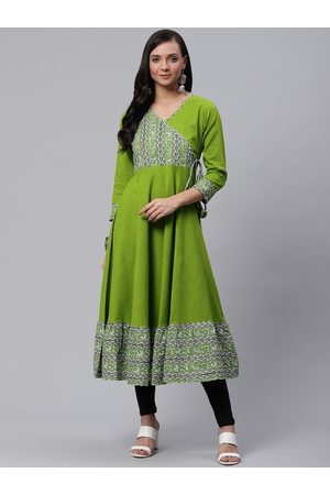 Yash Gallery Women Green & White Kalamkari Yoke Design Angrakha Anarkali Kurta