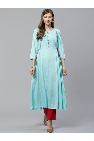 Yash Gallery Women Blue & Red Solid Kurta with Trousers