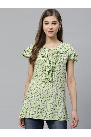 Yash Gallery Women Green & Blue Floral Print Top