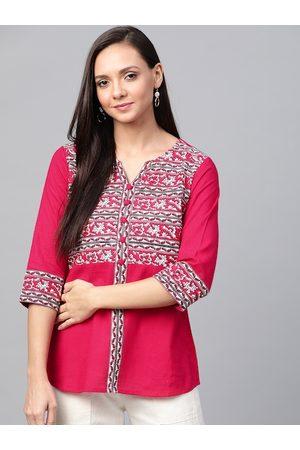 Yash Gallery Women Pink & White Kalamkari Print Top