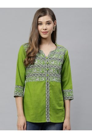 Yash Gallery Women Green & Off-White Printed Top