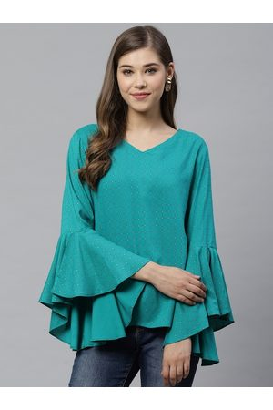 Yash Gallery Women Green Checked A-Line Top