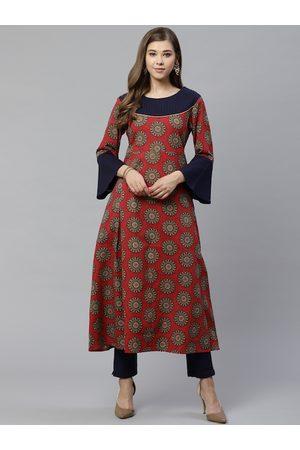 YASH GALLERY Women Rust Red & Navy Blue Buta Print Kurta with Trousers