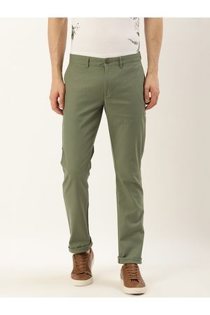Blackberrys Men Olive Green Skinny Fit Solid Regular Trousers