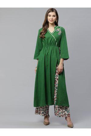 Yash Gallery Women Green & White Yoke Design Kurta with Palazzos
