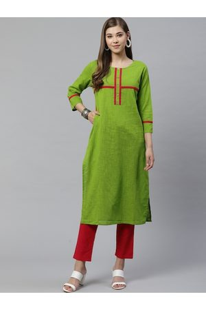 Yash Gallery Women Green & Red Solid Kurta with Trousers