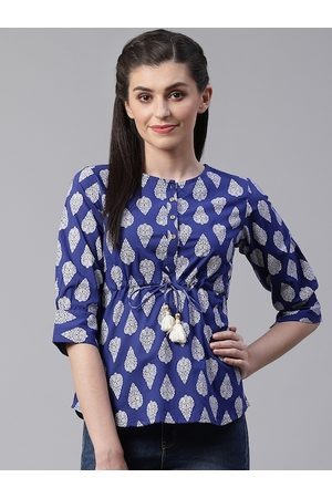 Yash Gallery Women Navy Blue & White Printed Ethnic Cinched Waist Top