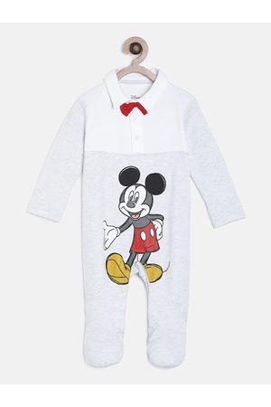 MINI KLUB Infant Boys Grey & White Disney Printed Sleepsuit