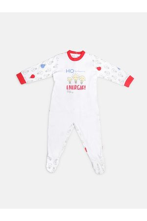 chicco Infant Unisex Kids White & Red Printed Nappy Opening Babysuit