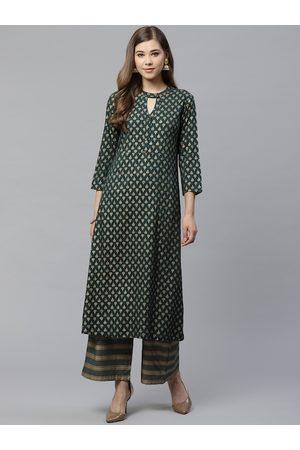 Yash Gallery Women Green & Golden Printed Kurta with Palazzos