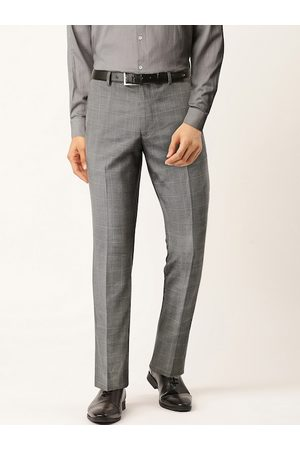 Marks & Spencer Men Grey Slim Fit Checked Formal Trousers