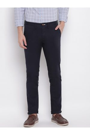 GANT Men Navy Blue Slim Fit Solid Regular Trousers