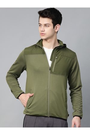 HRX Men Winter Moss Solid Rapid-Dry Antimicrobial Outdoor Jacket