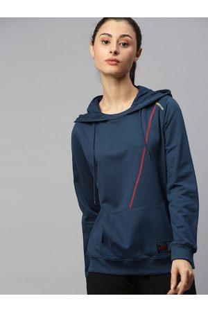 HRX Women Blue Solid Hooded Antimicrobial Bio-Wash Lifestyle Sweatshirt