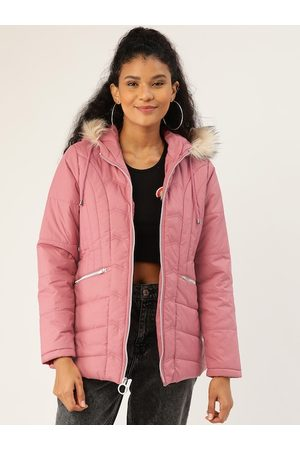 DressBerry Women Pink Solid Quilted Hooded Parka Jacket