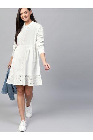 Mast & Harbour Women White Schiffli Embroidered Hem Solid Shirt Dress