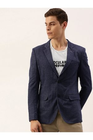 The Indian Garage Co Men Blue Slim Fit Solid Single-Breasted Smart Casual Blazer