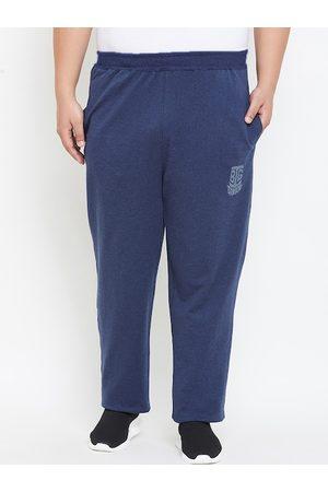 Bigbanana Plus Size Men Navy Blue Solid Straight-Fit Track Pants